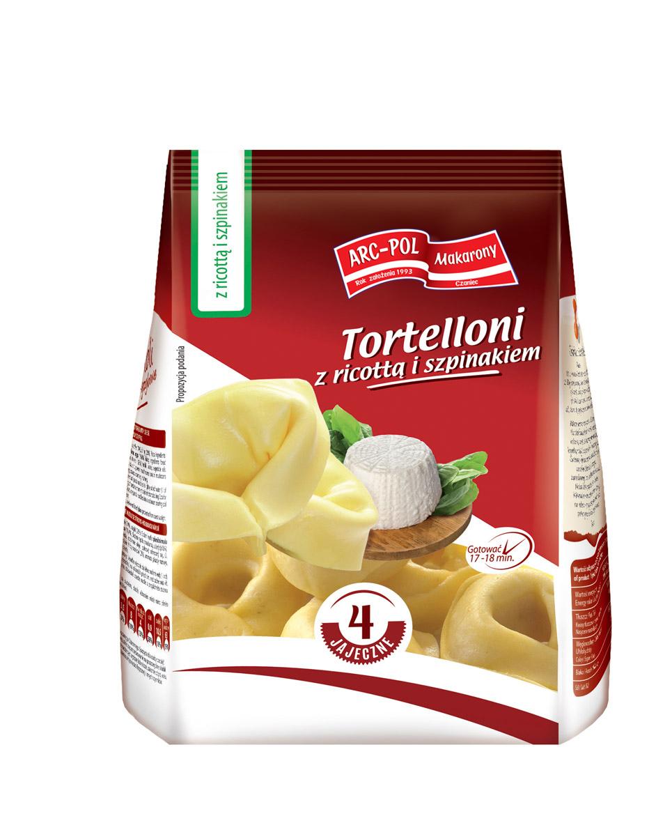 Makaron Tortelloni zricottą iszpinakiem Opakowanie jednostkowe: 250g Ilość wkartonie: 16 szt. / 4 kg
