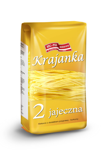 Makaron 2-jajeczny krajanka Opakowanie jednostkowe: 250g Ilość wkartonie: 40 szt. / 10 kg