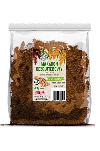 Makaron bezglutenowy (kukurydza,amarantus,len) zciecierzycą Opakowanie jednostkowe: 400g Ilość wkartonie: 16 szt./6,4 kg