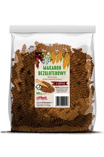 Makaron bezglutenowy (kukurydza,amarantus,len) zgryką Opakowanie jednostkowe: 400g Ilość wkartonie: 16 szt./6,4 kg