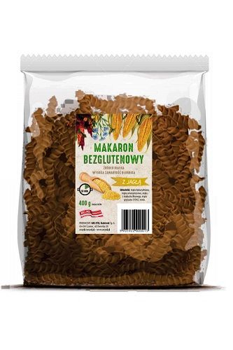 Makaron bezglutenowy (kukurydza,amarantus,len) zjaglą Opakowanie jednostkowe: 400g Ilość wkartonie: 16 szt./6,4 kg