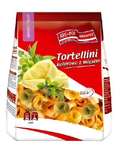 Makaron Tortellini kolorowe zmięsem Opakowanie jednostkowe: 250g Ilość wkartonie: 20 szt. / 5 kg